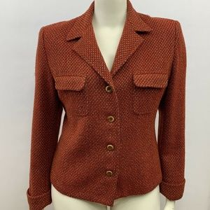 Oscar De La Renta Blazer Womens 16 Wool Blend USA